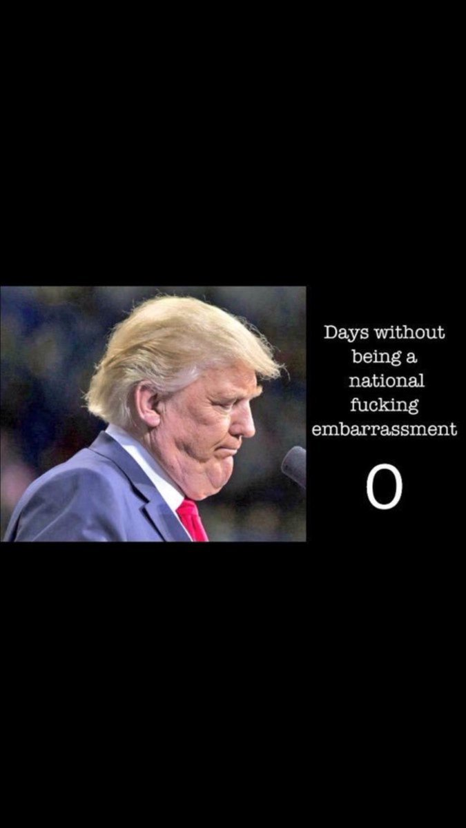 Trump days without being a national f•cking embarrassment: 0  #trumprussia #russiagate #resist #impeachtrump #trumpleaks <br>http://pic.twitter.com/J5xJeNie1n