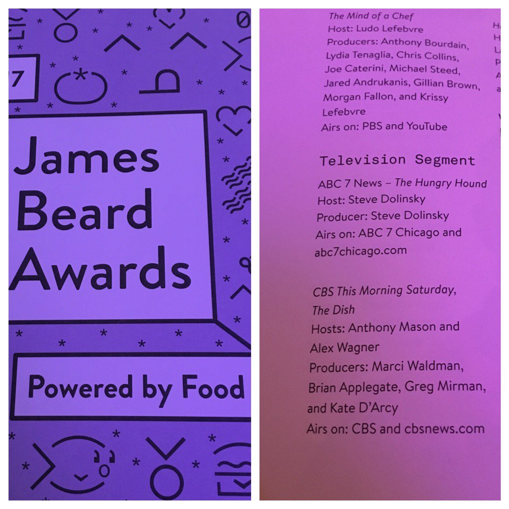 Nominated for my first James Beard Award thanks to the ace team at @CBSThisMorning CROSS YA FINGERS!