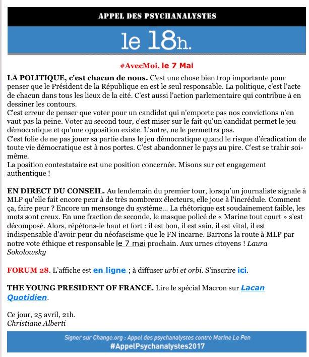 APPEL DES PSYCHANALYSTES CONTRE MLP -LE 18 H #AvecMoiLe7Mai #Forum18 #ContreLePen S'inscrire  https://www. weezevent.com/forum-28-avril     #StopFHaine #ArmeDuVote pic.twitter.com/85Ek7MGaAC