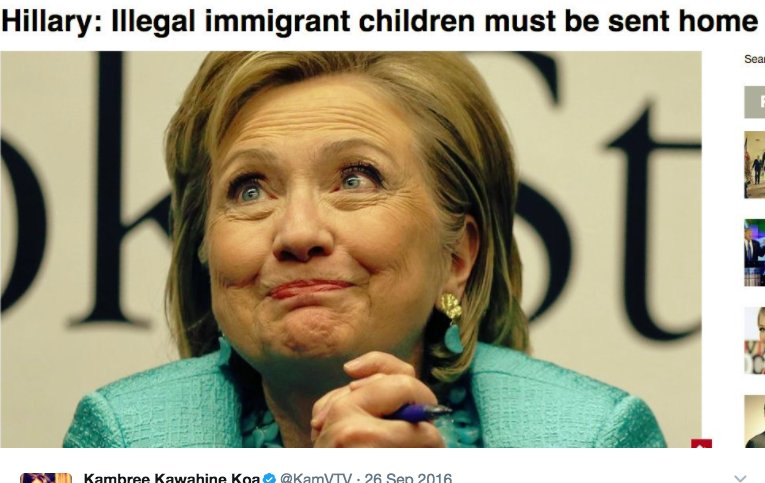 That one time, Hillary said illegal children should be sent back home...
