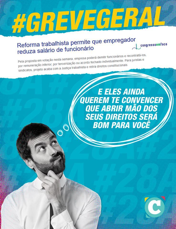 Venha lutar contra esse retrocesso absurdo ao direito de todos os brasileiros. #28A #QueroMeAposentar #GreveGeral  https://t.co/ThDybwL1TK