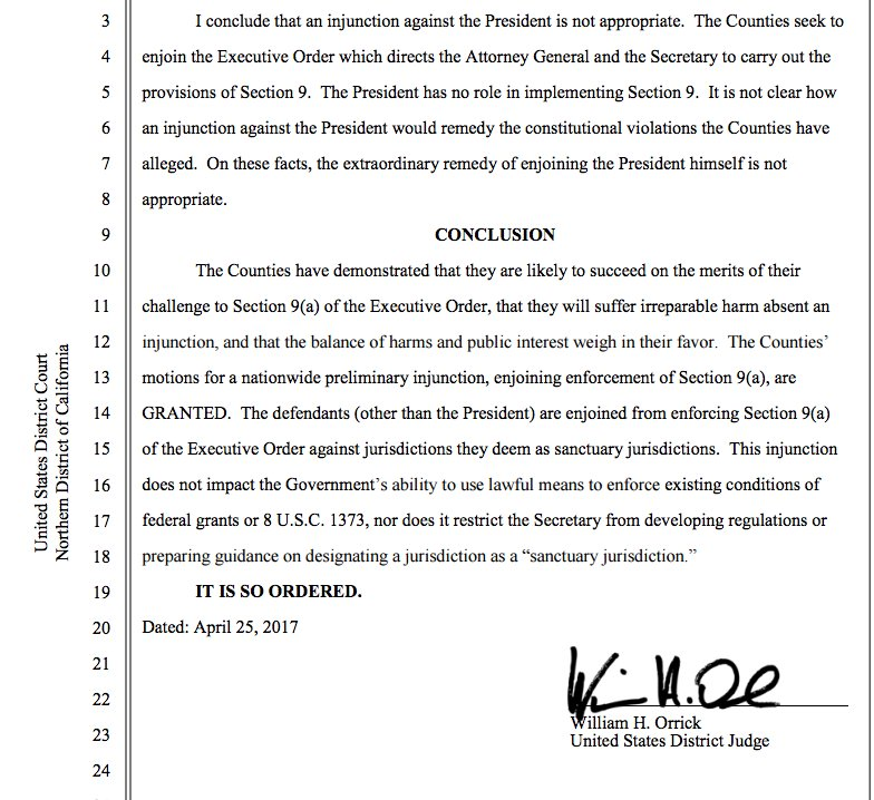 BREAKING: A federal judge in San Francisco has blocked President Trump's order to cut off funding to sanctuary cities.