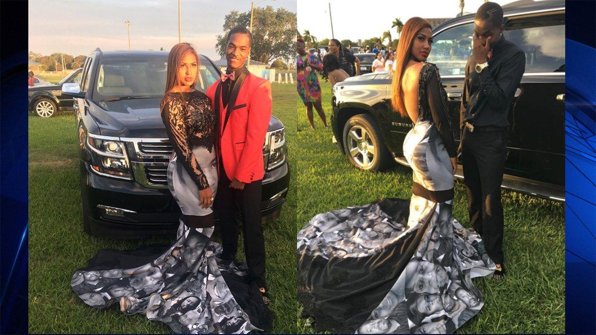 6141a13335f South Florida teen wears Black Lives Matter prom dress  http   on.nbc6.com IeTQaGW pic.twitter.com 7lYZxPEu5E
