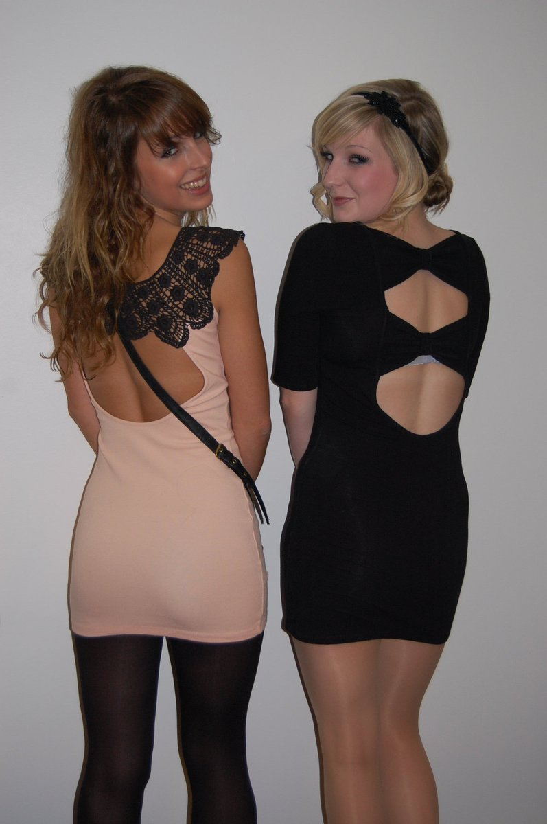 Two amateur cuties in pantyhose.  Which one do you like better?  Left or right?
