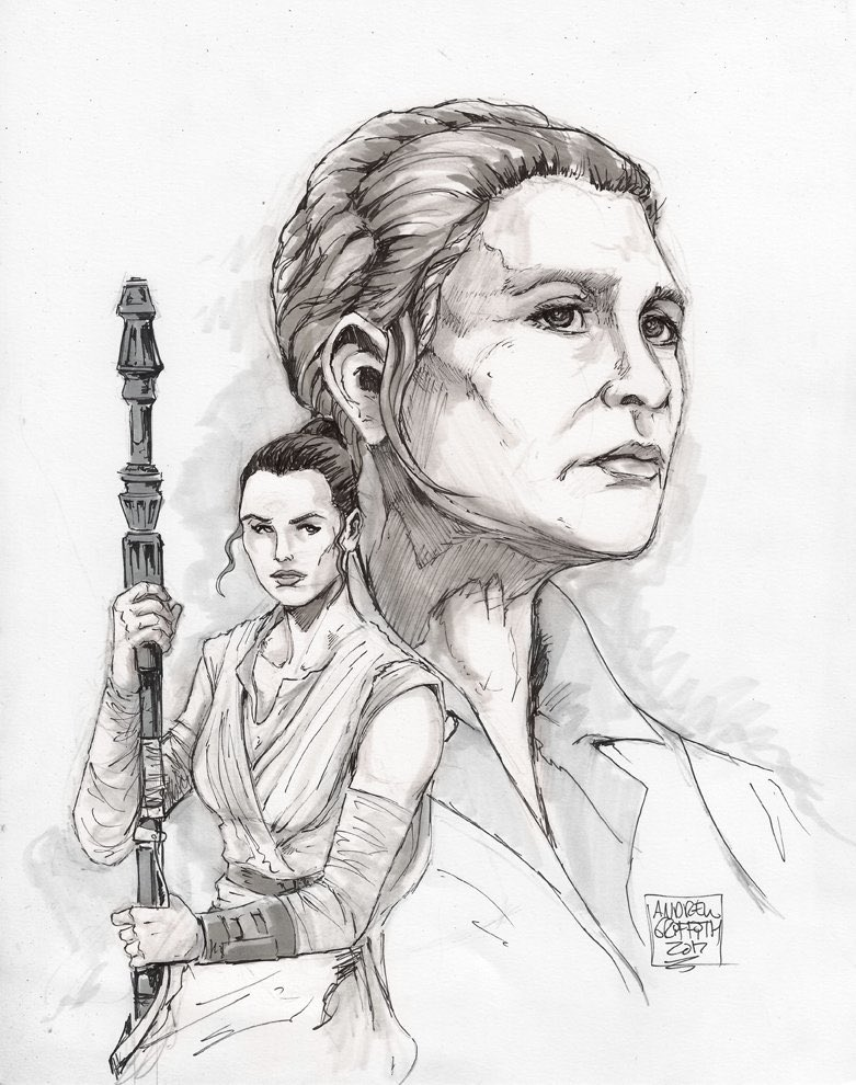 #Leia and #Rey from #TheForceAwakens for my @carrieffisher charity initiative. #CFBRF #StarWars<br>http://pic.twitter.com/gUdREqICj1