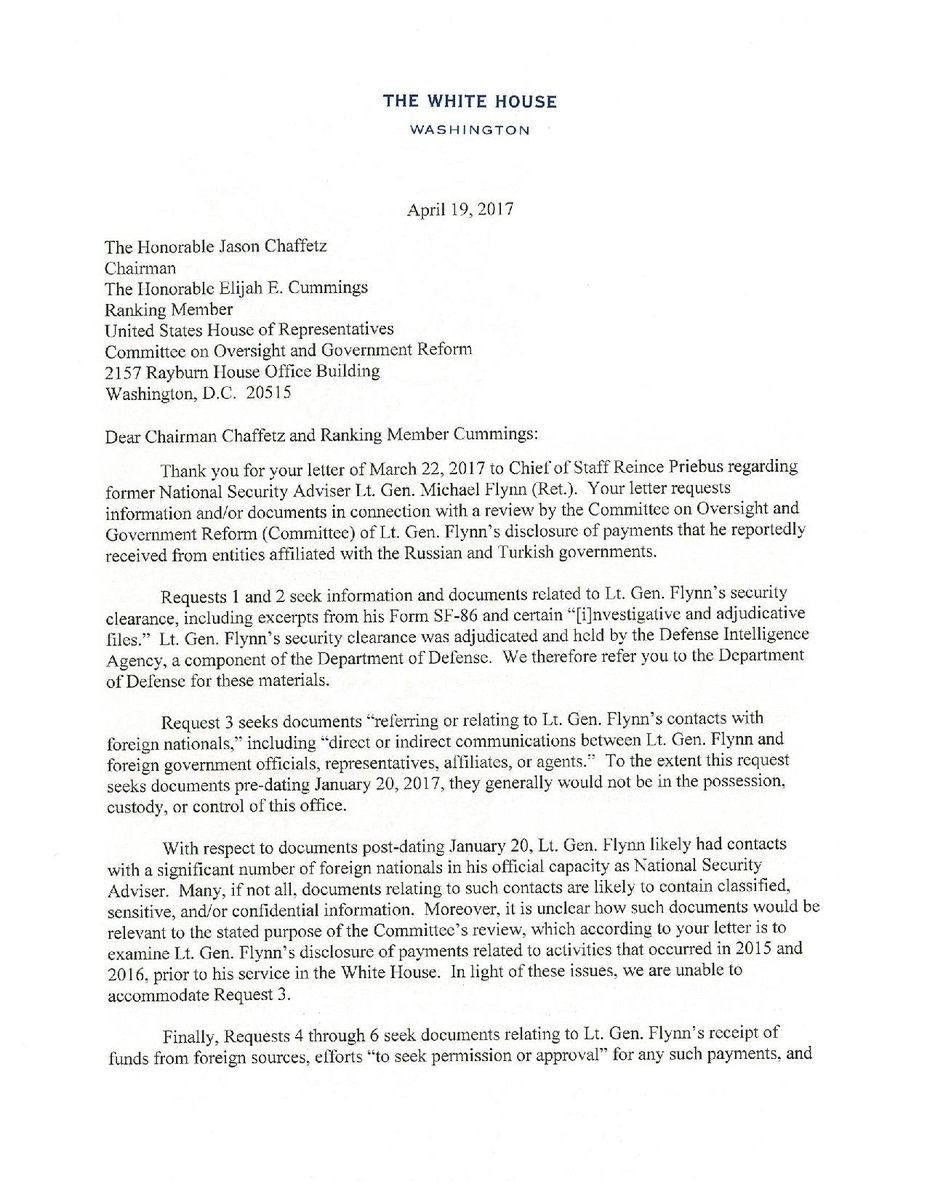 I@kwelkernbcn response to House Oversight Cmte. request, White House declines to provide documents on former National Security Adviser Flynn. https://t.co