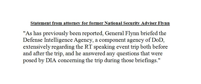 S@kwelkernbctatement from attorney for former National Security Adviser Flynn on new reports concerning Flynn's Russia trip. https://t.co