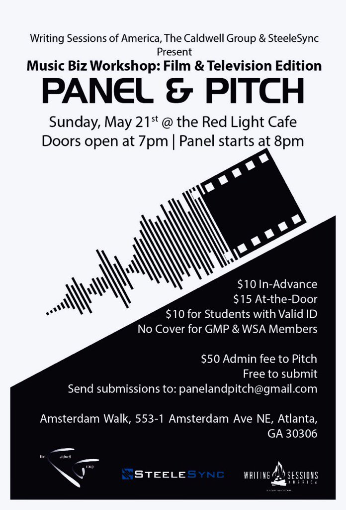 May 21 , #WSAATL @Kevin_AnR_Shine @SteeleSync , The Caldwell Group  - Panel & Pitch TV/FILM music placement   JOIN https://t.co/vP3ztTE6SB