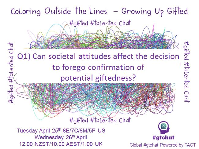 Q1) Can societal attitudes affect the decision to forego confirmation of potential giftedness? #gtchat https://t.co/mMDiDAT89k