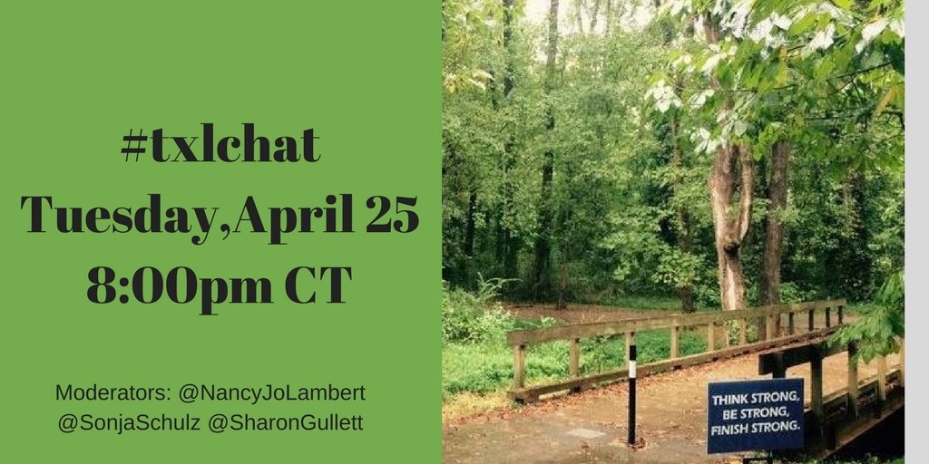 Starts in less than an hour. Be determined and stay strong. #txlchat https://t.co/r6CZveqNA4