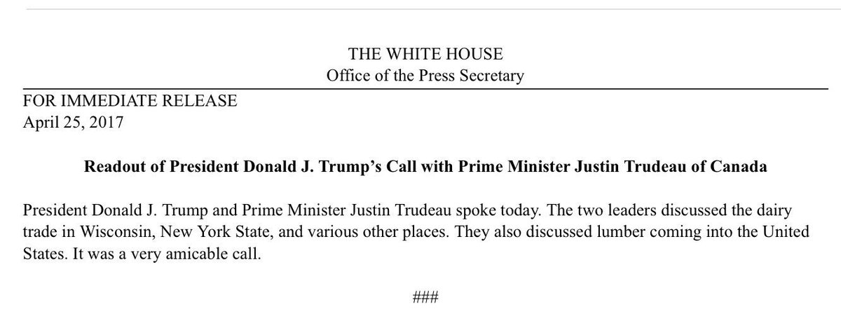 As Trump rails against Canada on trade, he and Trudeau speak. It was, according to the White House, 'a very amicable call.'