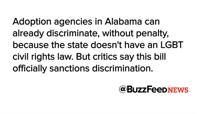 The Alabama legislature voted to let adoption agencies turn away LGBT parents https://t.co/W3VFd1AIR8