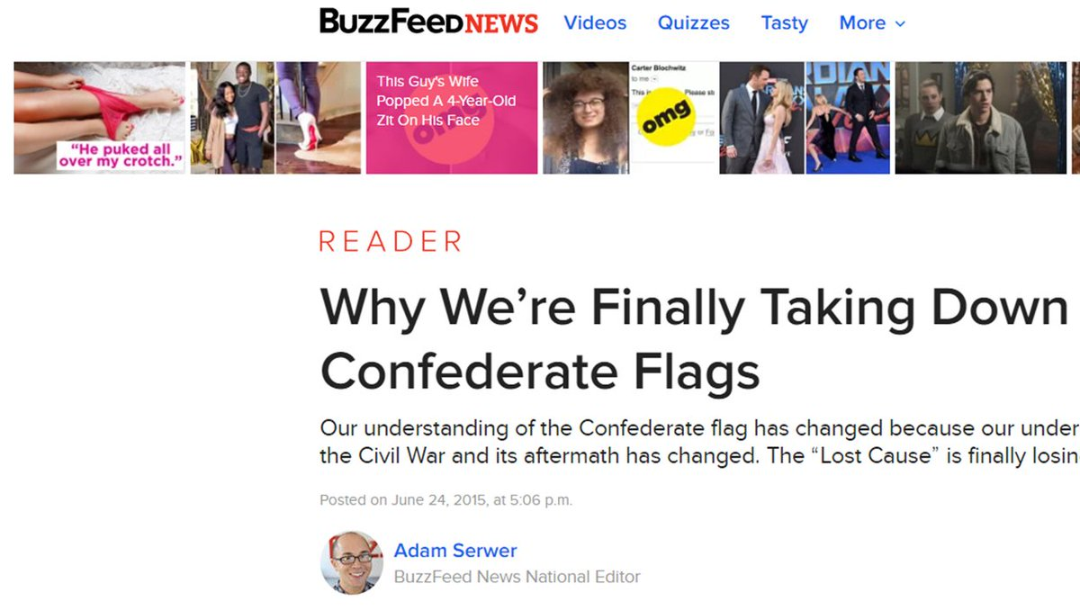 I really enjoy Buzzfeed's serious journalism (like this piece by @AdamSerwer ) but man do their banners ever have a deflating effect