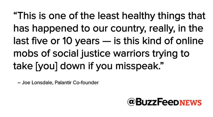 """Palantir co-founder says """"social justice warriors' helped create Trump https://t.co/jywmy1bvks"""