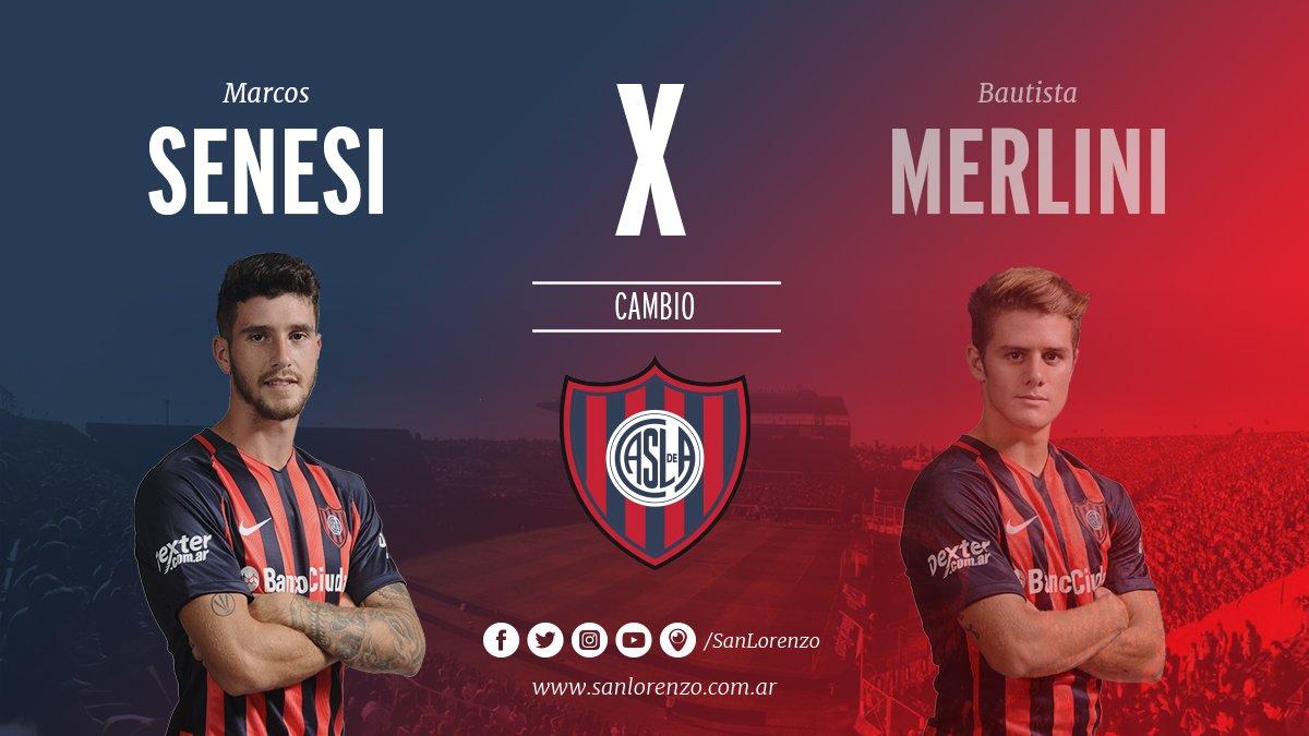 🔄 42' ST Segundo cambio en #SanLorenzo 🔄 ⬆ Senesi ⬇ Merlini https://t....