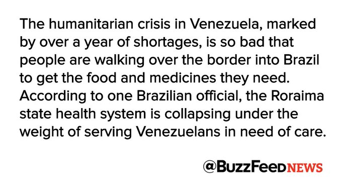 Things are so bad in Venezuela people are walking to Brazil for medicine https://t.co/tTNnORh8Oy
