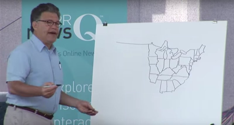 Al Franken flashback: Watch the Minnesota senator freehand draw the US map — from memory https://t.co/2soJWZxLsL