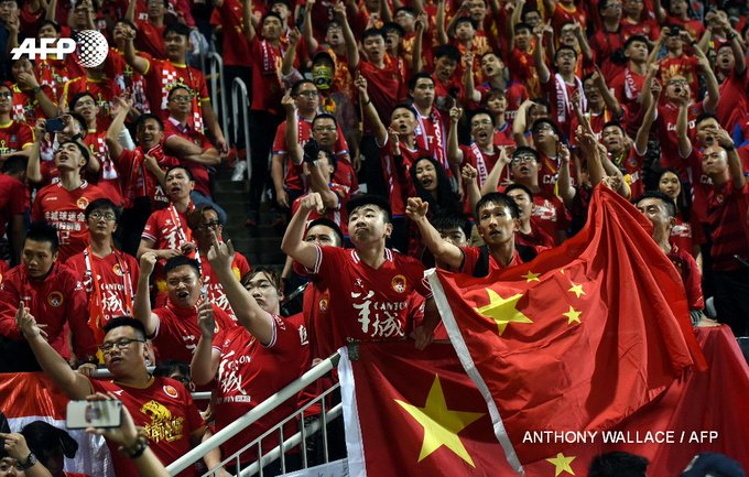 China's Guangzhou Evergrande football team may be disciplined after fans unfurl 'British dogs' banner in Hong Kong https://t.co/4Aw9WmS9hI