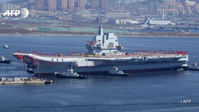 China's second aircraft carrier, Type 001A, is launched during a ceremony at the Dalian shipyards  https://t.co/WF7fbRFQmG
