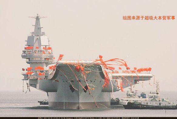 الصين تدشن أول حاملة طائرات محلية الصنع C-UjCpWXYAA51Kt