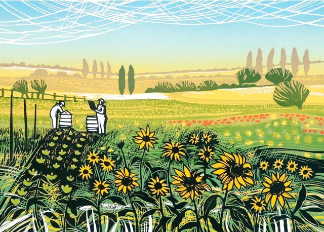 To get you in the mood for Summer, &#39;Sunflower Hives&#39; by printmaker Rob Barnes, a new addition to our card range from @gpcards #art #cards <br>http://pic.twitter.com/OWXZLGMtko