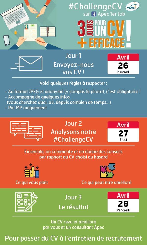 C'est parti pour le #ChallengeCV sur la page FB de @Apecfr  Envoyez-nous votre #CV pour bénéficier des conseils de la communauté