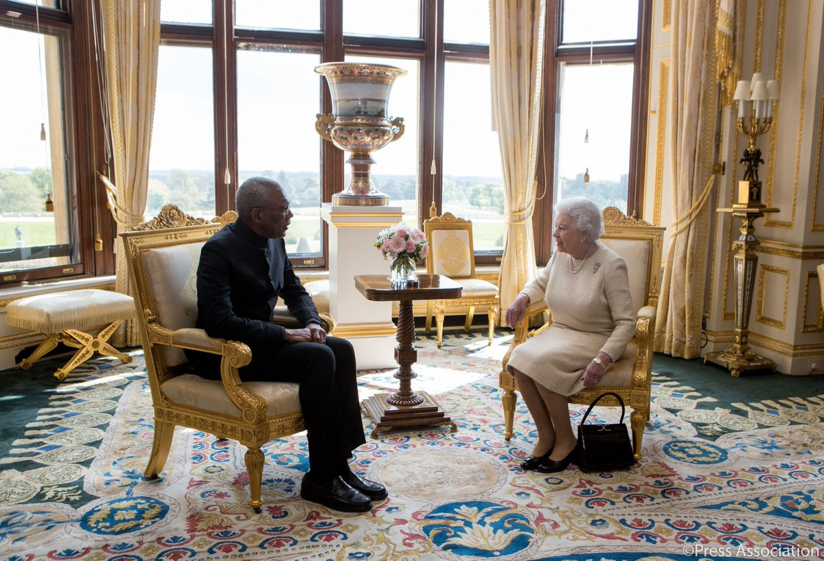 The Queen hosts an audience with His Excellency David Granger, Preside...