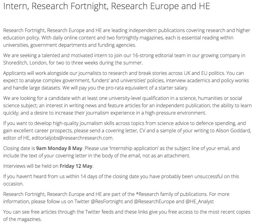 Research Fortnight On Twitter We Are Looking For A Summer Intern  We Are Looking For A Summer Intern To Help Us Cover Science  He Policy  Send Us Your Cv Before  May