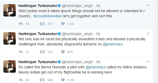 Harbhajan Singh accuses a Jet Airways pilot of racism, assaulting a woman and a physically challenged man, demands strict action.