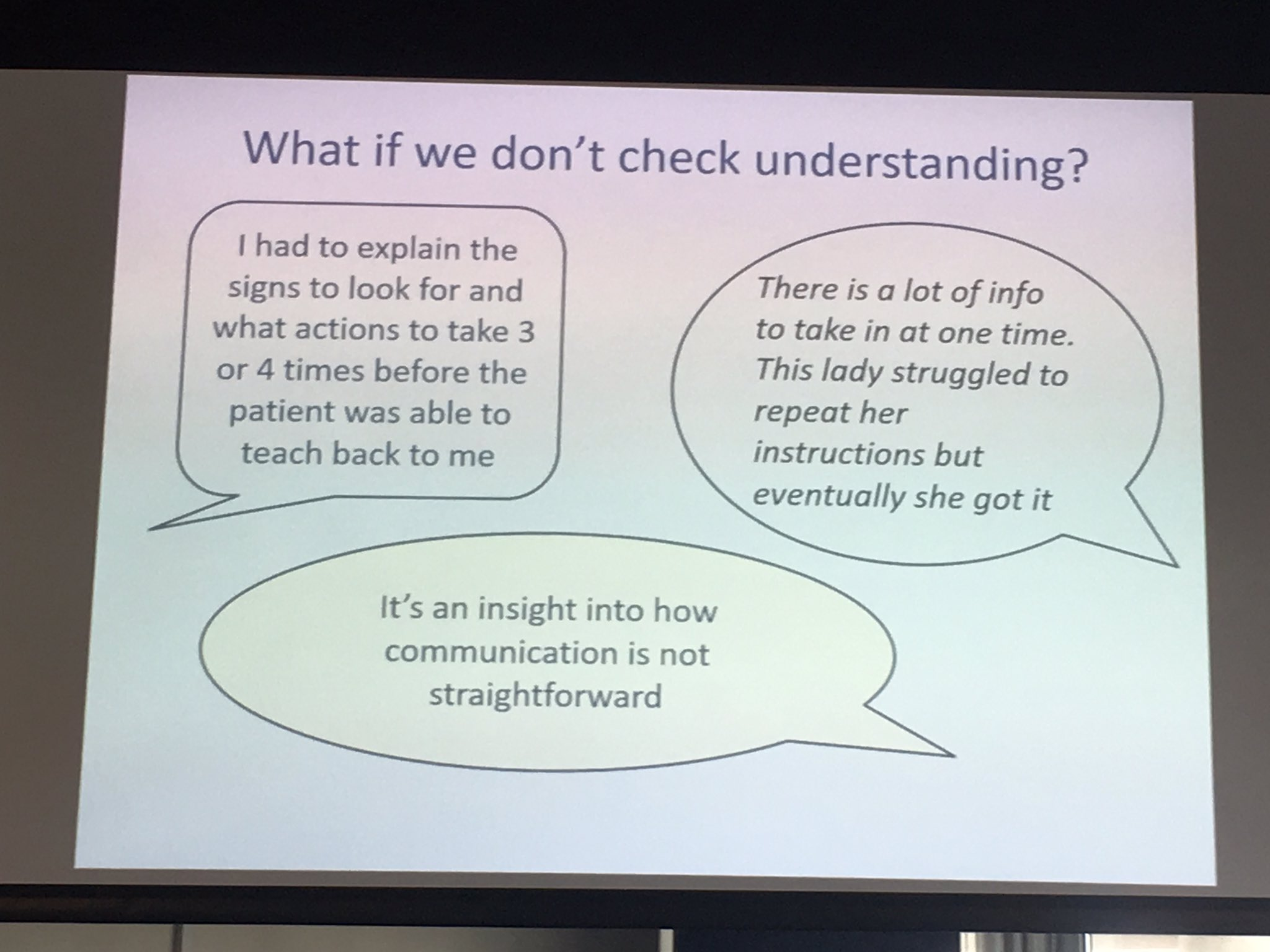 Using teach back consequences of not.... #healthlitdiscovery https://t.co/C0xKN0LVhw