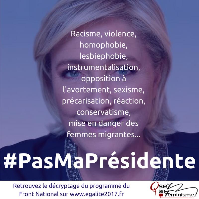 Marine Le Pen au 2d tour : #PasMaPrésidente! Nous appelons à faire barrage au #FN! https://t.co/h2SwvENBuN #égalité2017 #Presidentielle https://t.co/b4o1kVVBh1