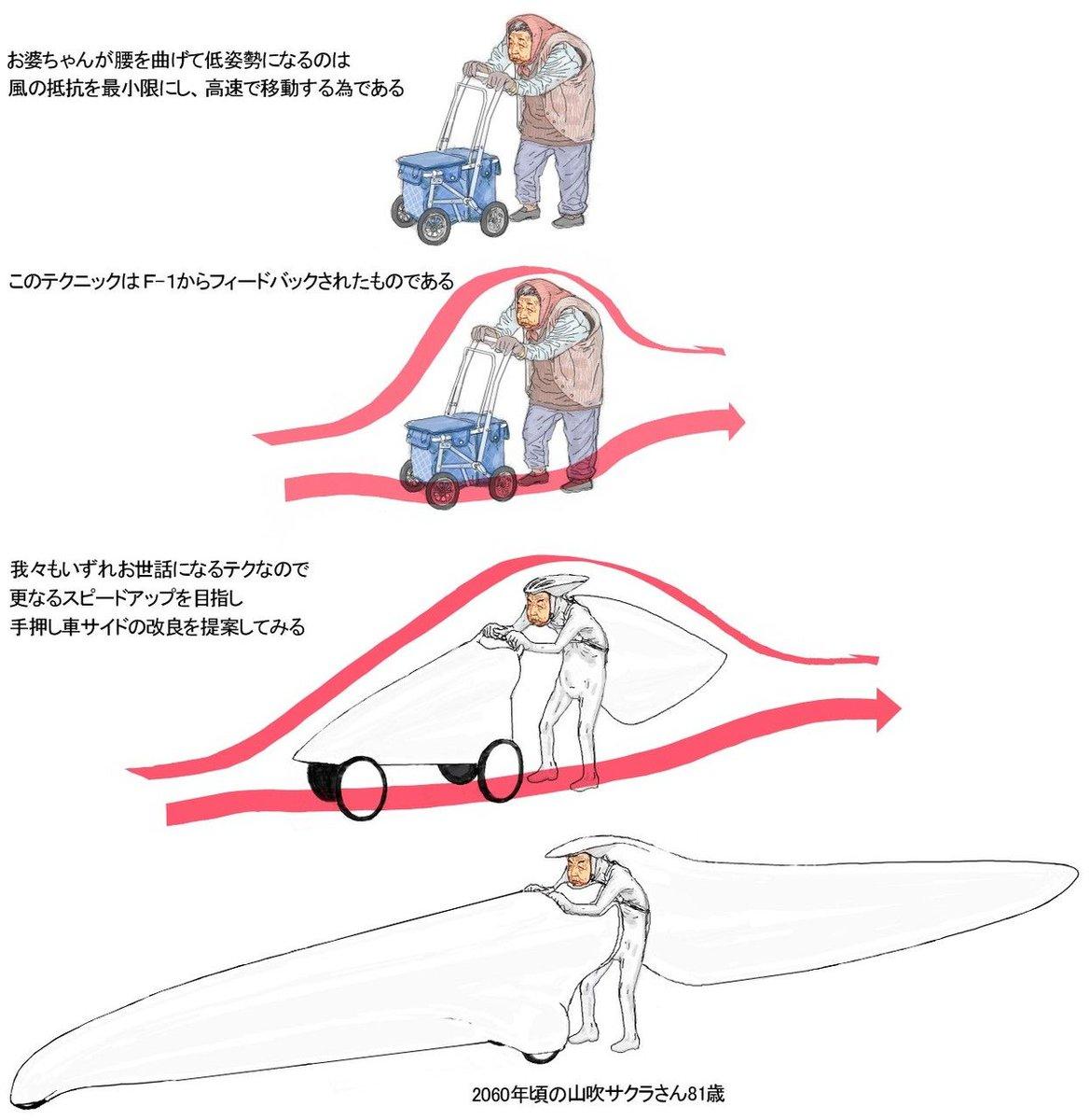 お婆ちゃんかっこよすぎでしょw空気抵抗を説明するこのイラストおかしい