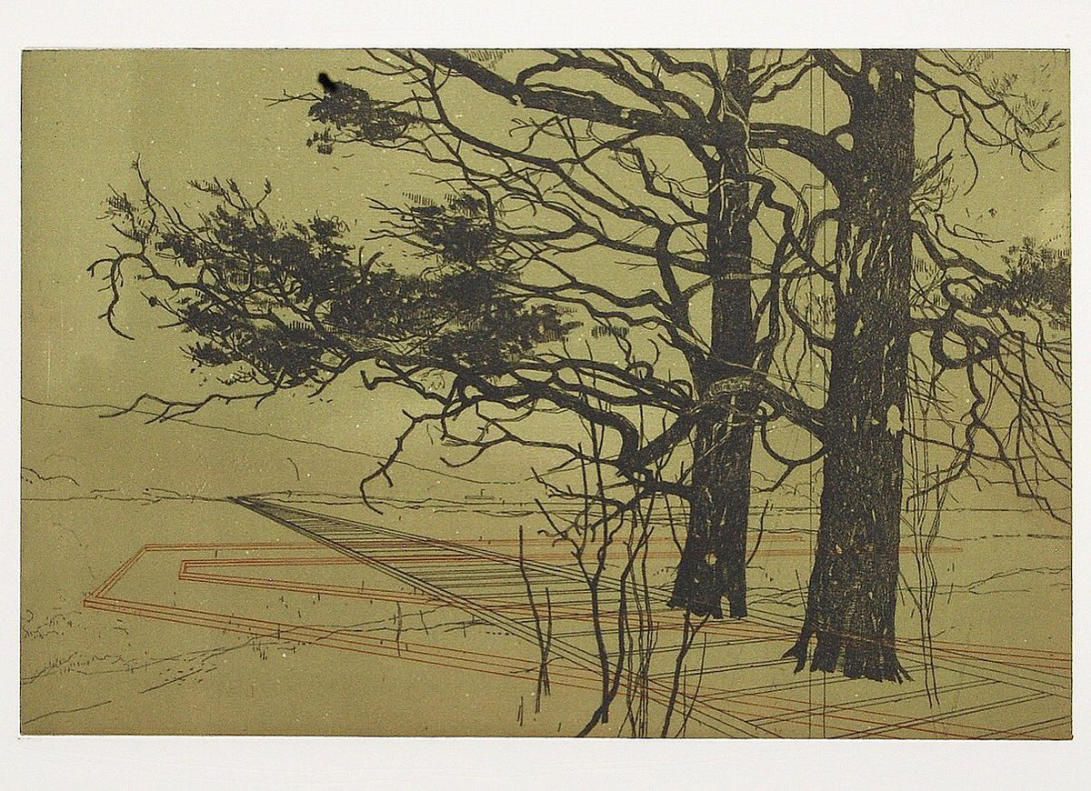 Boardwalk - 2 plate etching with colour rollover, on Somerset. Edition of 15 by @Mackenzie400. Now showing in the gallery. #printmaking