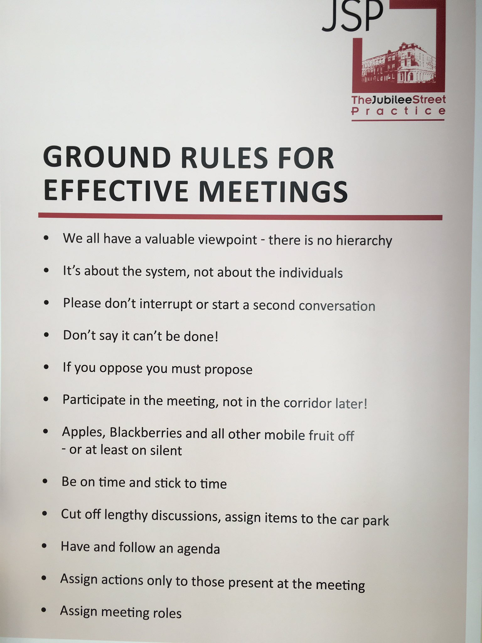 Save time at meetings with ground rules from jubilee street practice. What resonates with you? #meetings #Quality2017 #andersonprog https://t.co/wGhnxz8zyk