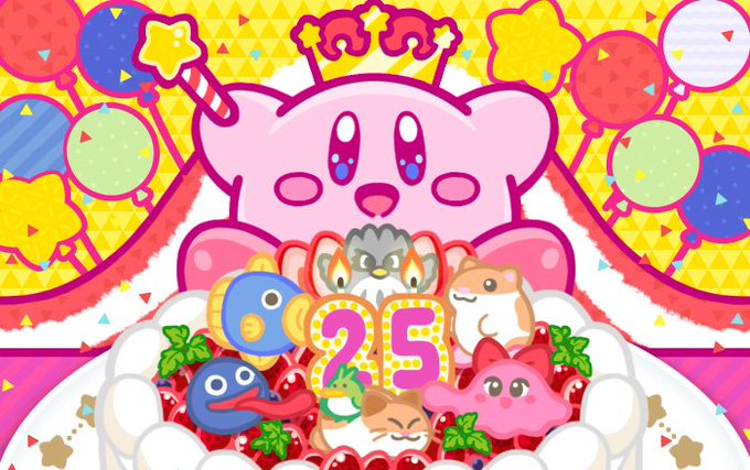 25周年お祝いケーキを目の前にする星のカービィの壁紙
