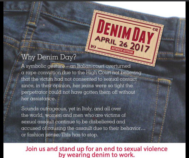 Get out your #Joutfit and support survivors of sexual assault in coming forward today on #DenimDay #DenimDay2017