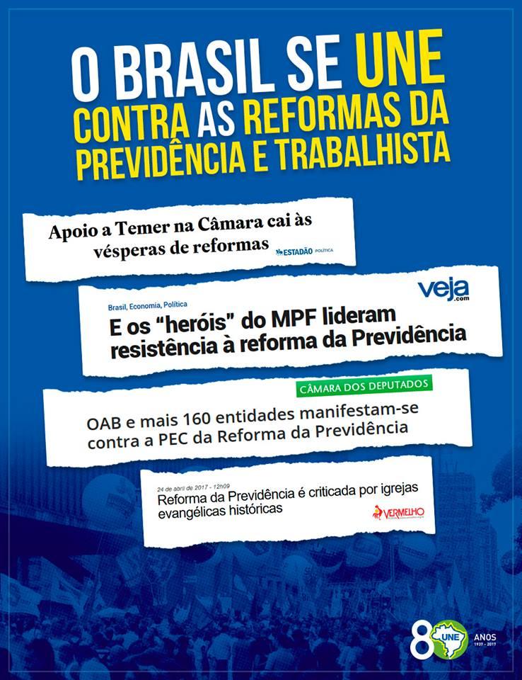 O Brasil está unido contra o retrocesso. Não fique ai parado! Participe dos atos na sua cidade.  #28A #GreveGeral  #28érua #paratudo