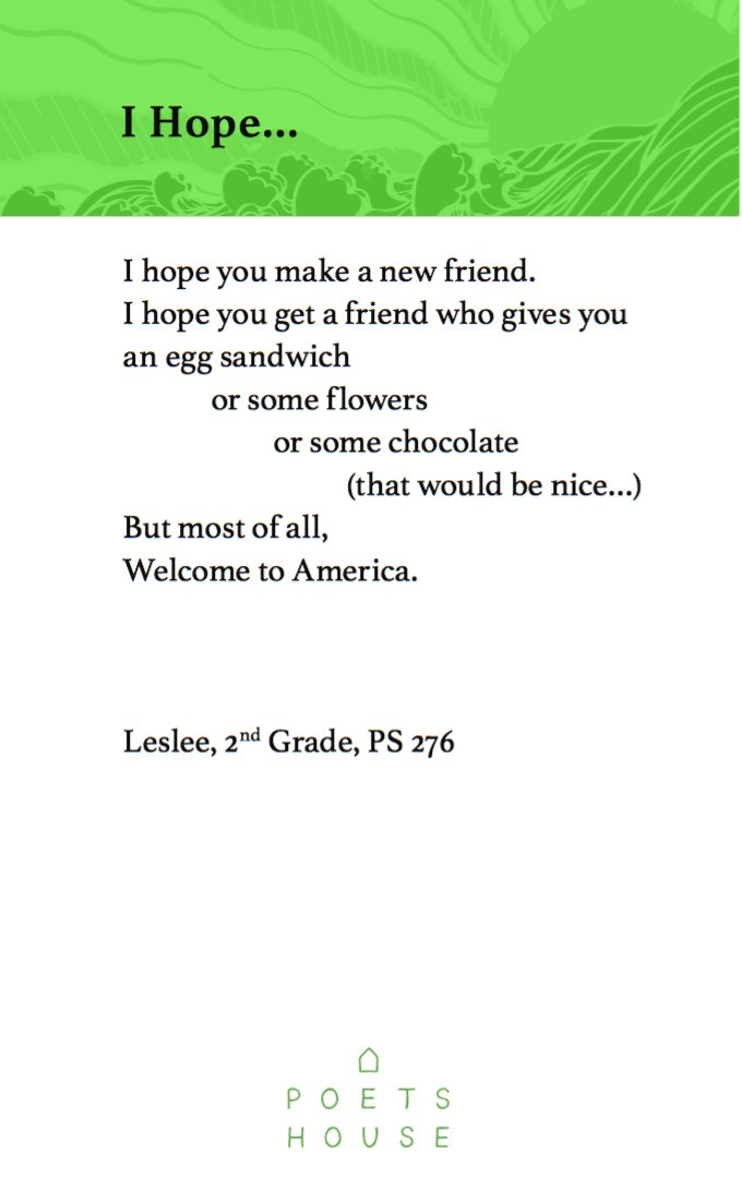 But most of all, Welcome to America.  -Leslee, 2nd Grade, PS276 #PoemI...