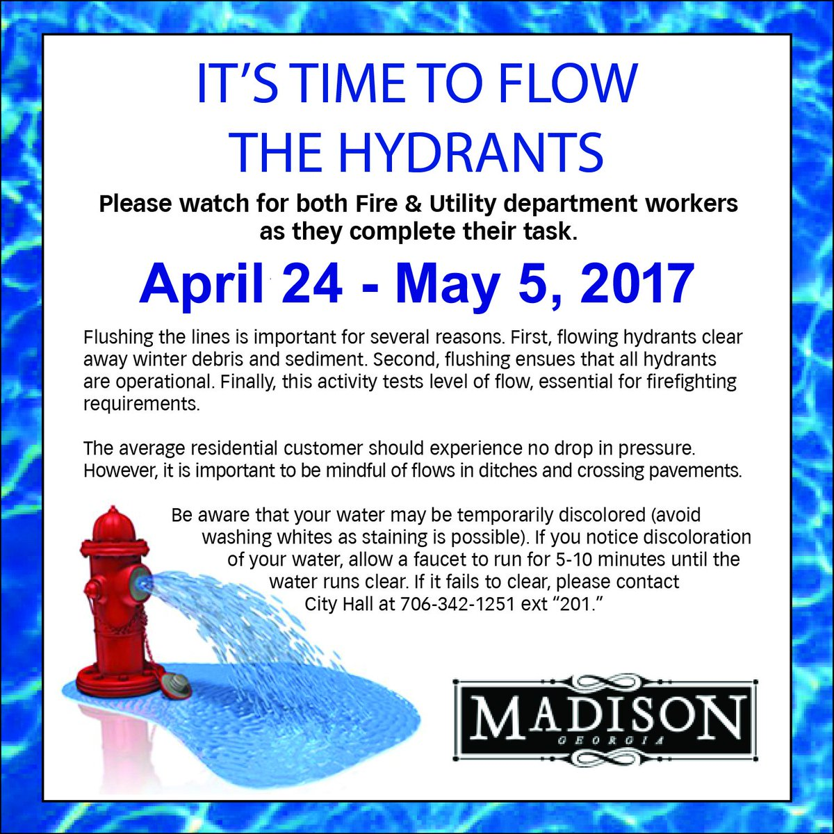 Madison Street Department Finally Gets >> Madison Ga On Twitter Hydrant Flowing In Hill Park Area Vine