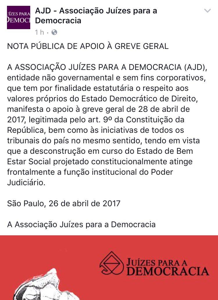 Juízes para a Democracia: nota de apoio à greve geral: https://t.co/mMWxR2FxZD