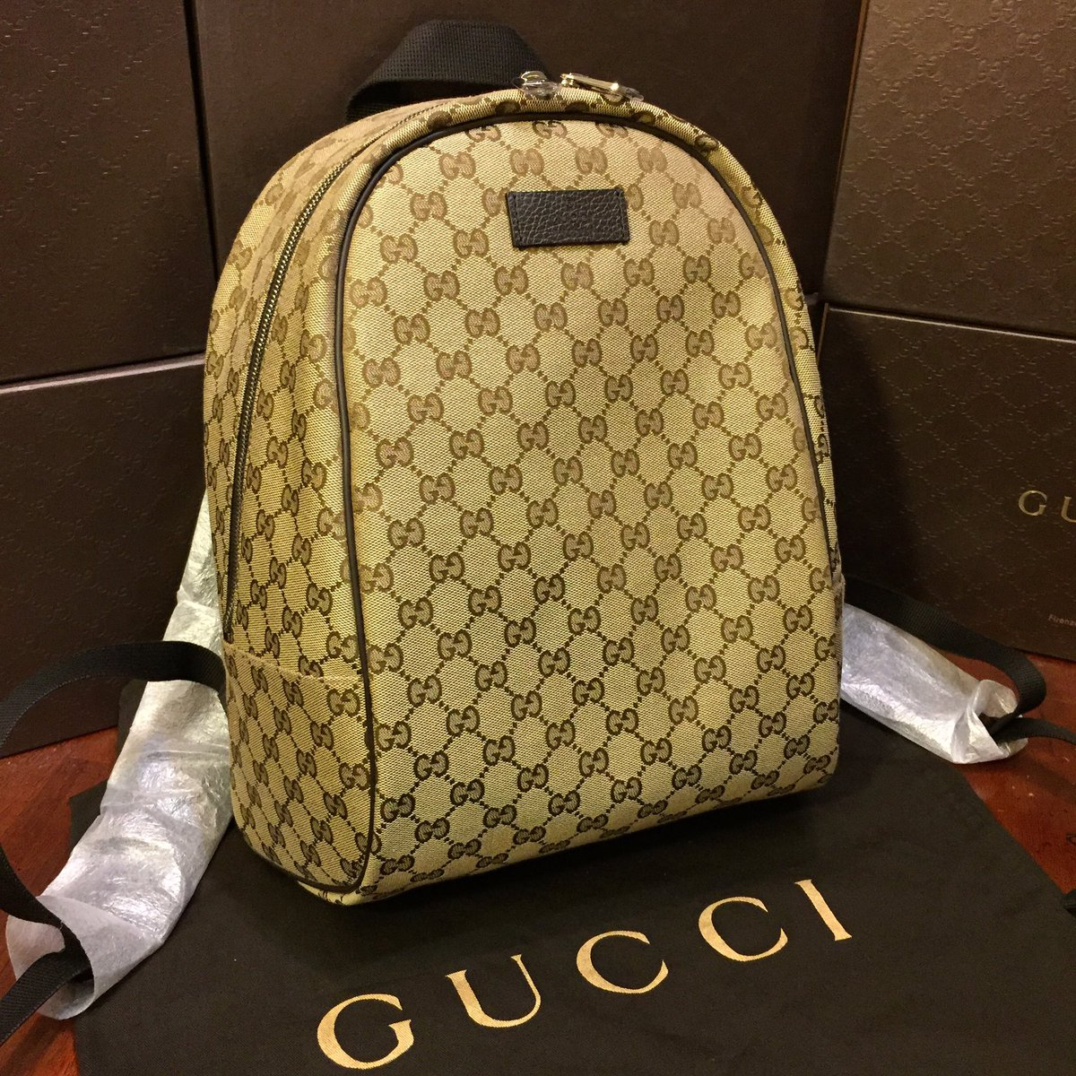 421849090 Gucci Brown Canvas Backpack- Fenix Toulouse Handball