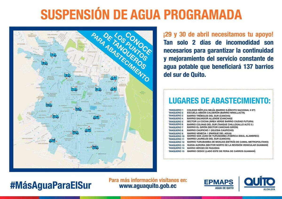 Servicio de agua potable se suspender en 180 barrios de for Agua potable quito