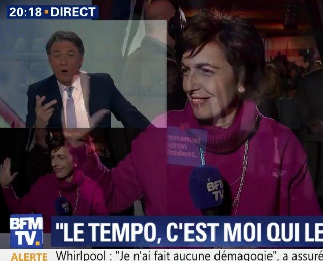 """#Honteux! Ruth #Elkrief fait un """"check"""" à #Macron à la fin de son interview sur #BFM... Les #médias pris en flagrant délit de #complaisance!pic.twitter.com/Cr1fZZb1Q3"""