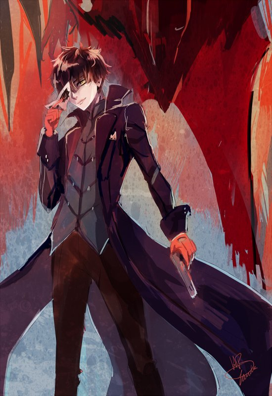 Quick painting of the #Persona5 MC - I just love his design. So stylish ;w;/ https://t.co/NP1uPtf1e8