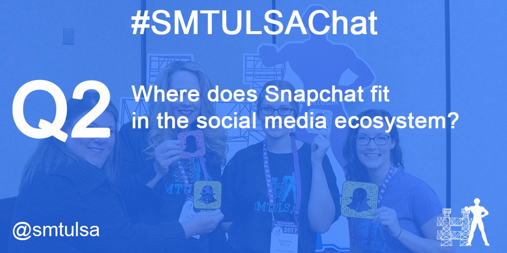 Q2. Where does Snapchat fit in the social media ecosystem? #smtulsachat https://t.co/sCSUnj9Sy9