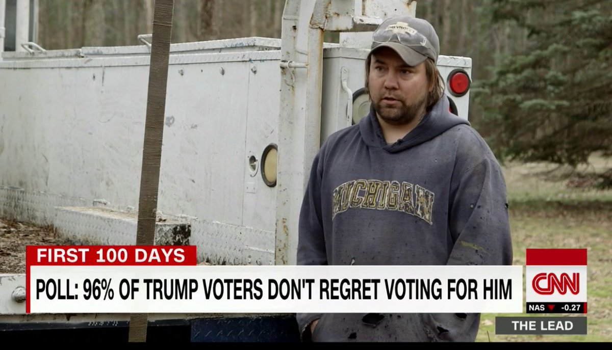 Here's this guy's quote for why he voted Trump... that's the complete...