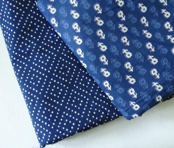 Indigo fabric block print , polkadot hand print Indian cotton, Indigo dye blue flower indian fabric, Indigo blue floral dress fabric