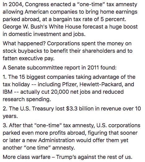 Trump wants to give a 'one-time' tax amnesty to corporations with trillions in earnings abroad. Let's look at what happened the last time: