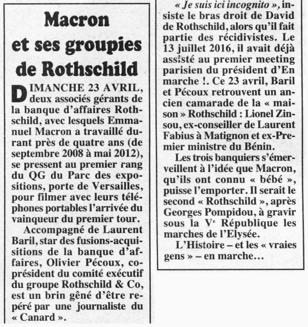 Macron et ses groupies de Rothschild. Le Canard enchaîné (26/04/2017) #macron #ToutSaufMacron #LeVraiMacron