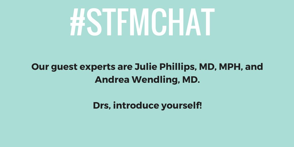 Welcome to the chat! Everyone take a moment to introduce yourselves and say hello to our guests! @juliephillips07  #stfmchat https://t.co/PeHwluLuyd